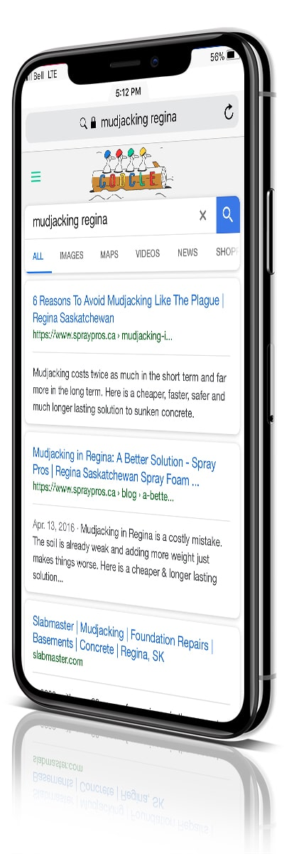 Synergist Media & Spray Pros Regina - An SEO Success - iPhone X angled image
