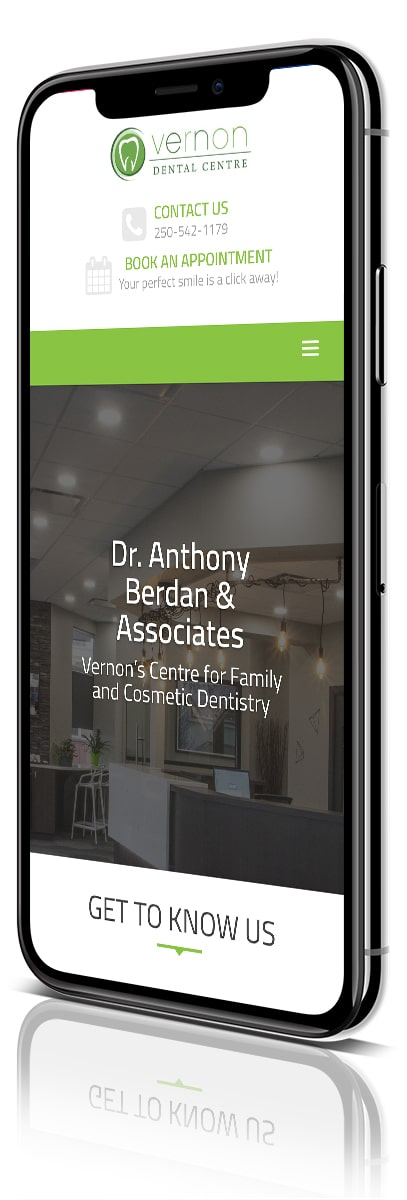 Synergist Media & Vernon Dental Centre - iPhone X angled image