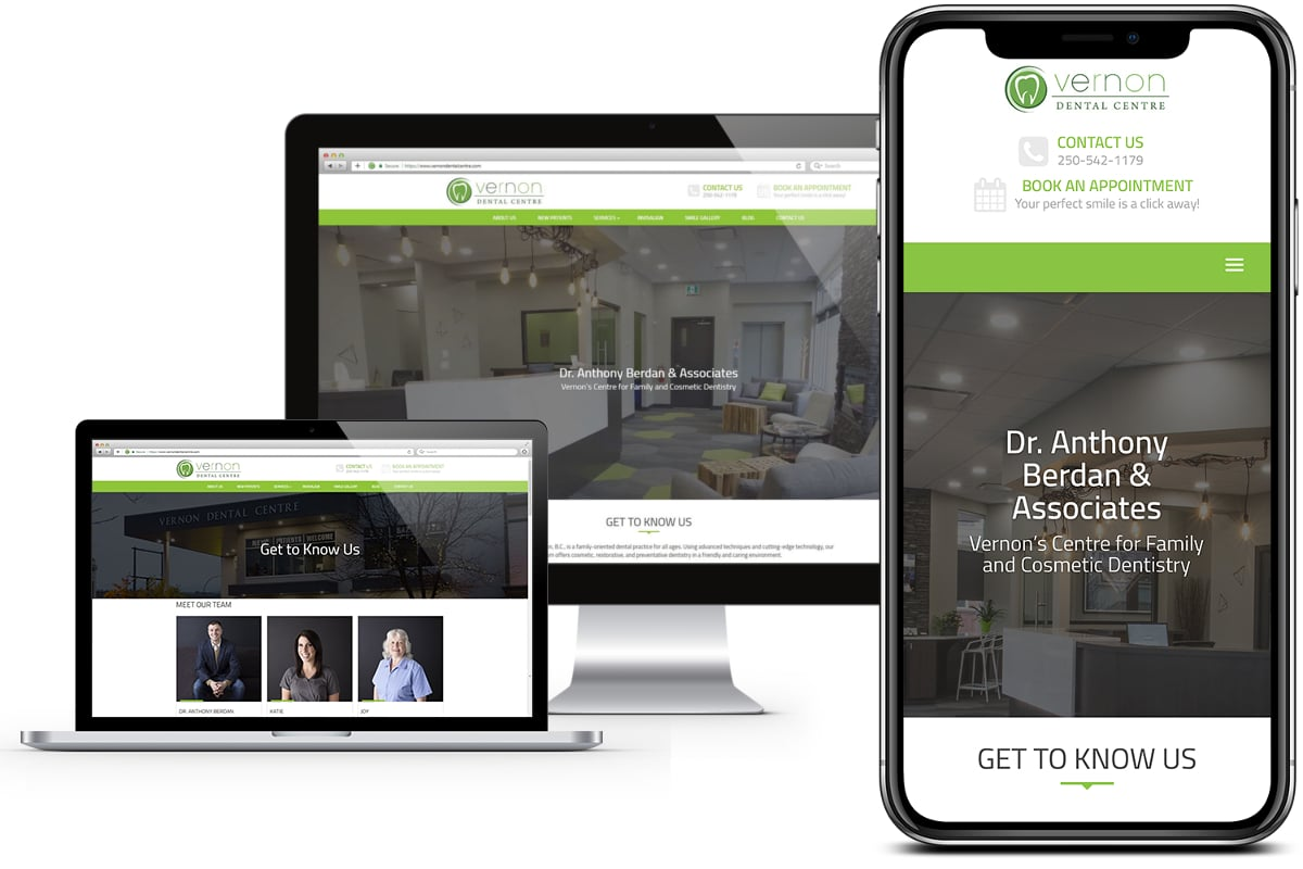 Synergist Media - Vernon Dental Centre iPhone X and Desktop - Screen Shot
